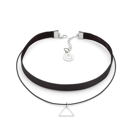 Black Geometric Pendant Choker Necklace