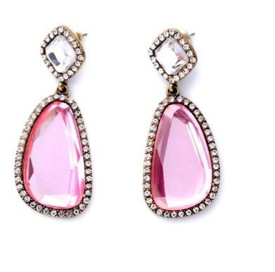 Pink Crystal Statement Earrings Clear Rhinestone Accents | 7 Charming Sisters