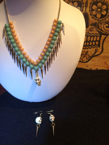 Bohemian Skull Necklace Set