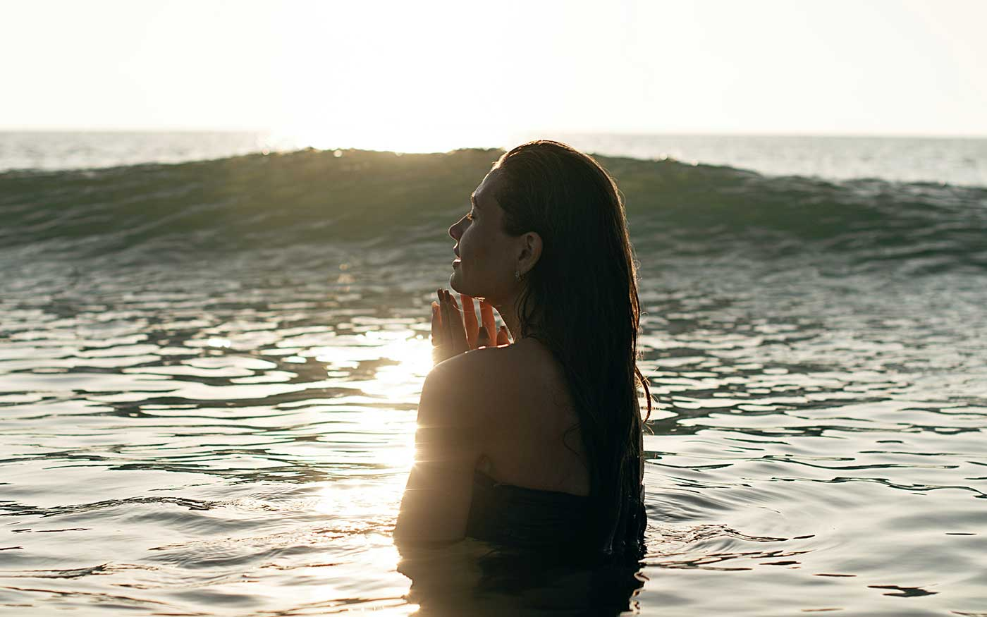 woman immersed in water