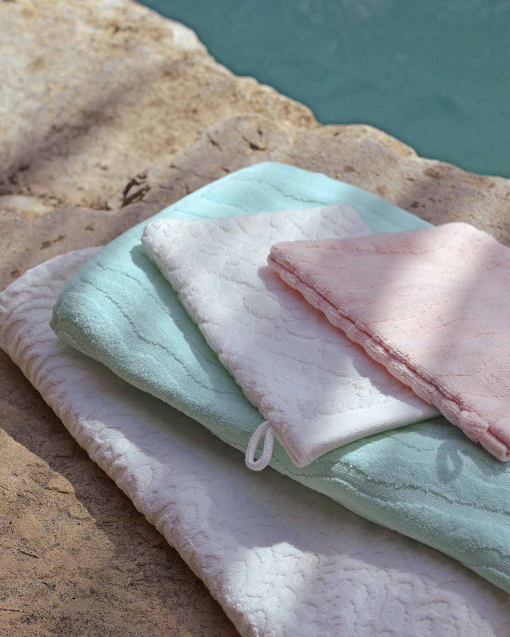 Affina Organic Spa Mitts and Towels by waterfall