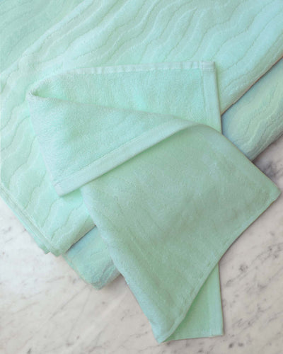 Affina Sand Ripple Aqua Organic Cotton Towels