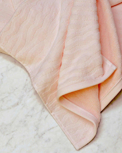 Affina Sand Ripple Pink Organic Cotton Towels