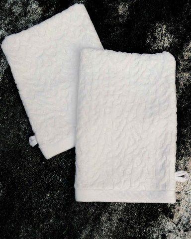 Ventalina White Organic Cotton Spa Mitt Set