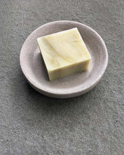 Affina Hand-Carved Limestone Soap Dish with Botanical Soap