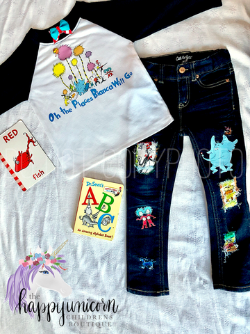 Made to Order Dr. Seuss Distressed Denim--READ ENTIRE DESCRIPTION BEFORE PURCHASING--