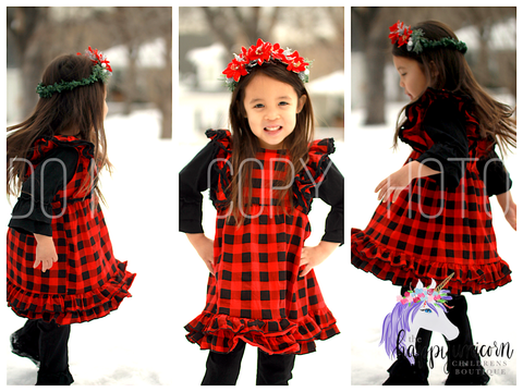 """Rowan"" Dress Buffalo Plaid CLEARANCE"