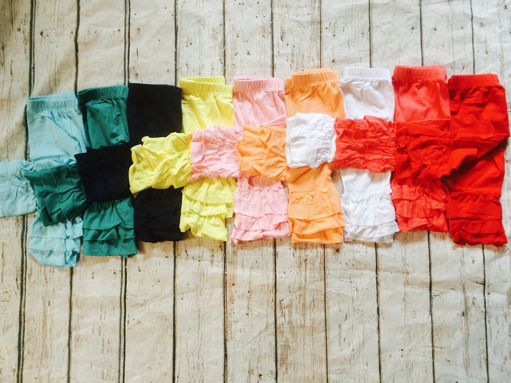 """LuLu"" Triple Ruffle Capris~Color Group#2~Size 12M CLEARANCE"