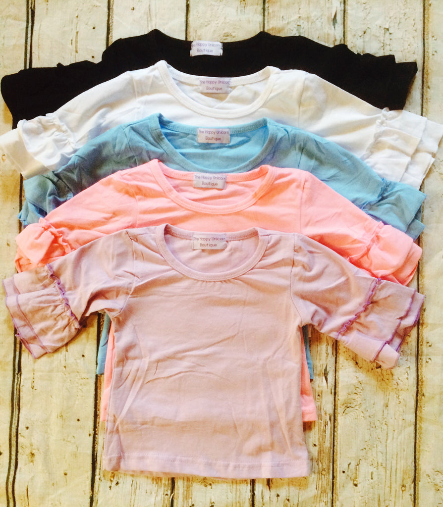 """Macey"" Top with 3/4 Classic Ruffle Sleeves~Color Group#1~Size 8Y"
