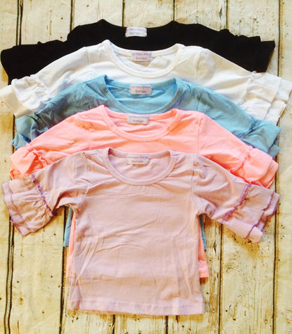 """Macey"" Top with 3/4 Classic Ruffle Sleeves~Color Group#1~Size 5T"