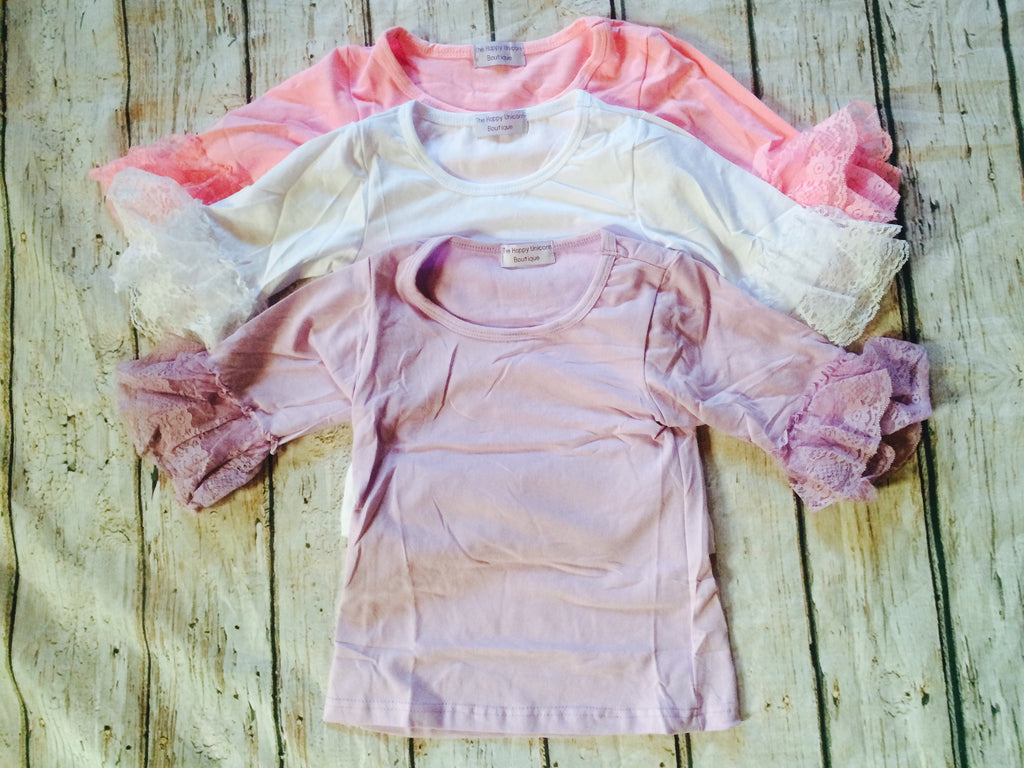 """Sophia"" Lace Cuffed Shirts~Sizes 3T-6Y CLEARANCE"