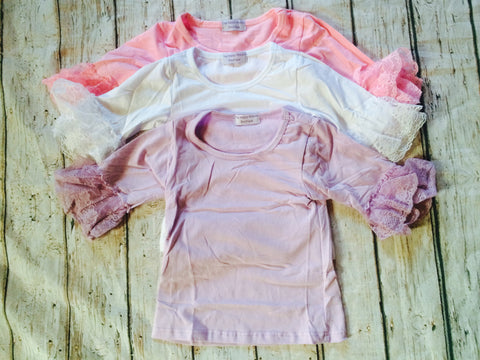 """Sophia"" Lace Cuffed Shirts~Sizes 12M-2T CLEARANC"