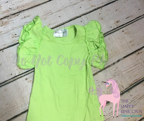 """Angel"" Flutter Tees Key Lime Pie(Subtle lime green)"