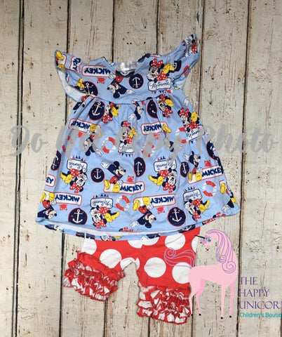 M.Mouse Pearl & Red w/white polka Icing Shorts Set SALE