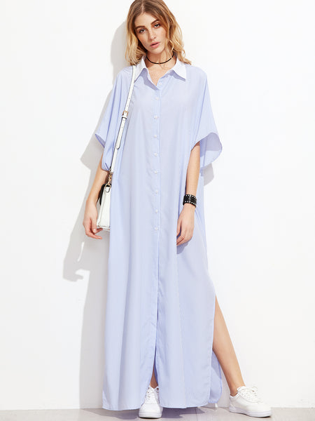 Blue Vertical Striped Contrast Collar Oversized...