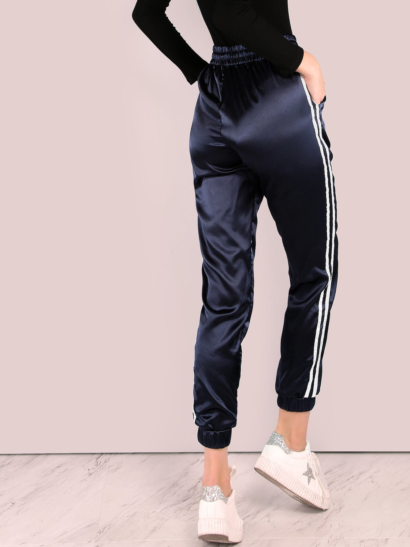 Satin Trainer Joggers NAVY
