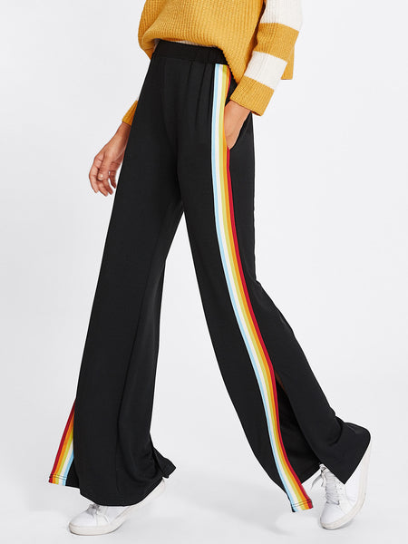 Rainbow Tape Side Split Pants