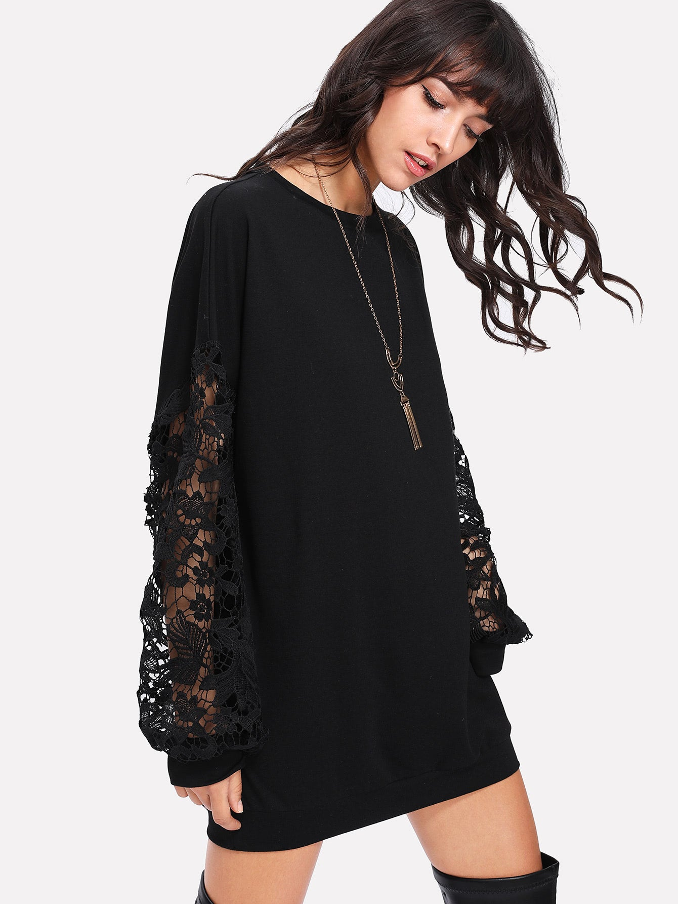 Floral Lace Sleeve Long line Sweatshirt