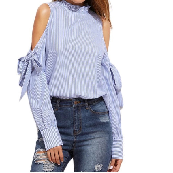 Keipy's vertical striped blue and white cold shoulder blouse