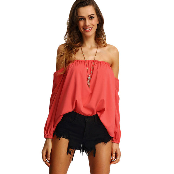 Keipy's Cute Off The Shoulder Red Long Sleeve Blouse