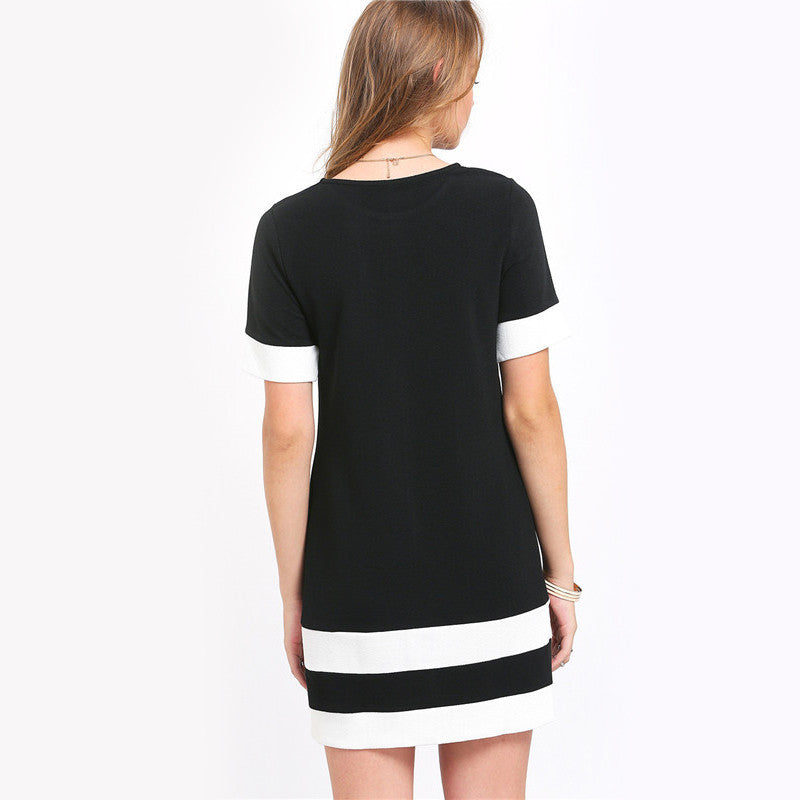 Keipy's Black & White Short Sleeve Shift Dress