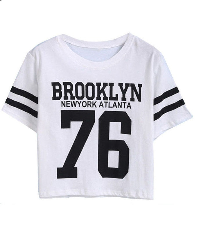 Keipy's BROOKLYN 76 Print Number Top Casual Short Sleeve