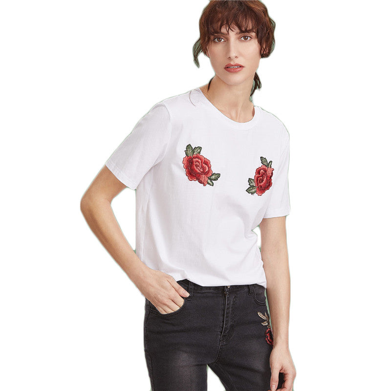Keipy's Women Floral T-shirt White Short Sleeve Top