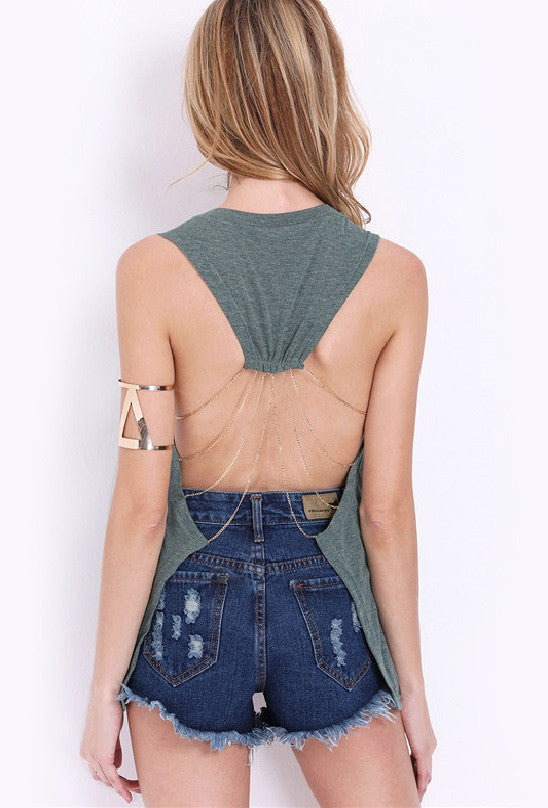 Keipy's Backless Round Neck Letter Print Tank Top