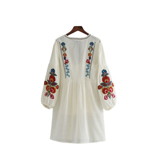 Keipy's women vintage floral embroidery dress