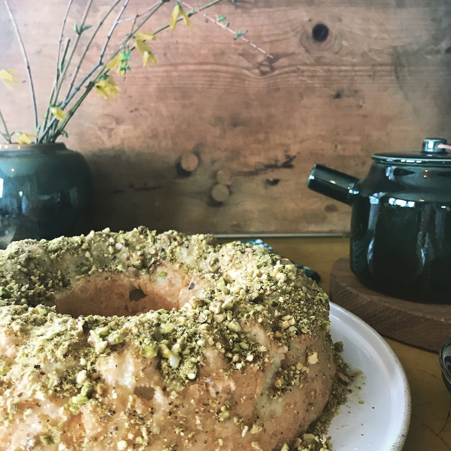 Lime & Pistachio Angel Food Cake