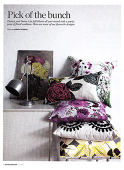 étoile home's Tiki tropical floral throw pillow in Elle Deco magazine ships from Canada worldwide