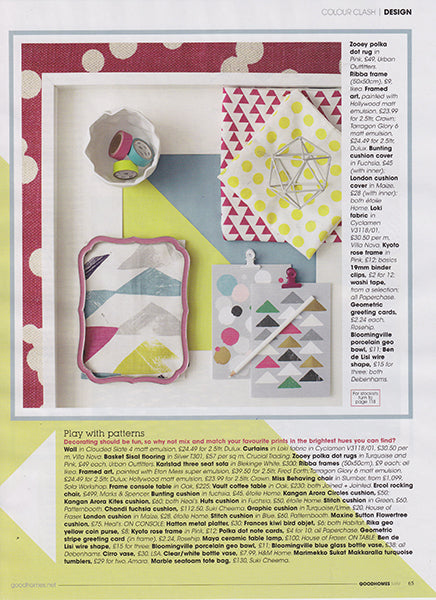 étile home's bunting napkin in fuchsia and london polka dot spotty napkin in maize yellow in Good Homes Magazine