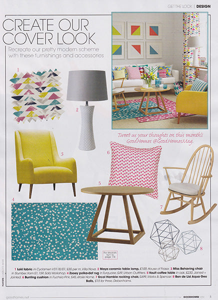 Good Homes Magazine May 2014 Bunting Throw Pillow in Fuchsia Pink