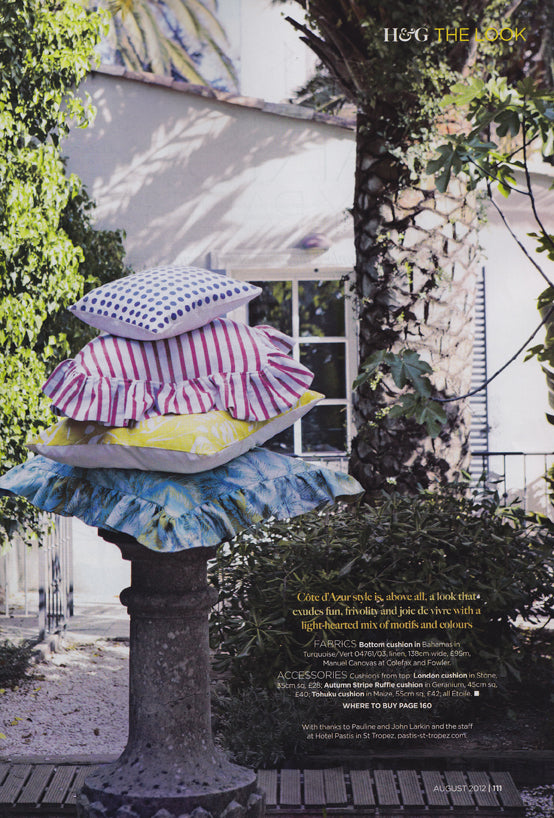 étoile home's London Polka Dot and Stripe Ruffle Throw Pillows in Homes & Gardens Magazine ships from Canada worldwide including the USA