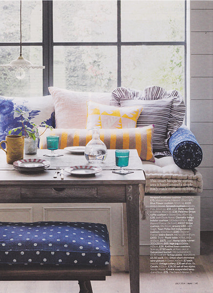 étoile home's Betty throw pillow in Saffron and Palermo stripe ruffle throw pillow in grey in Homes & Gardens Magazine ships from Canada worldwide