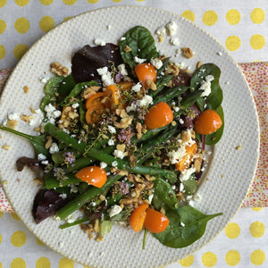 ASPARAGUS AND LEMON THYME SALAD WITH WALNUTS AND FETA