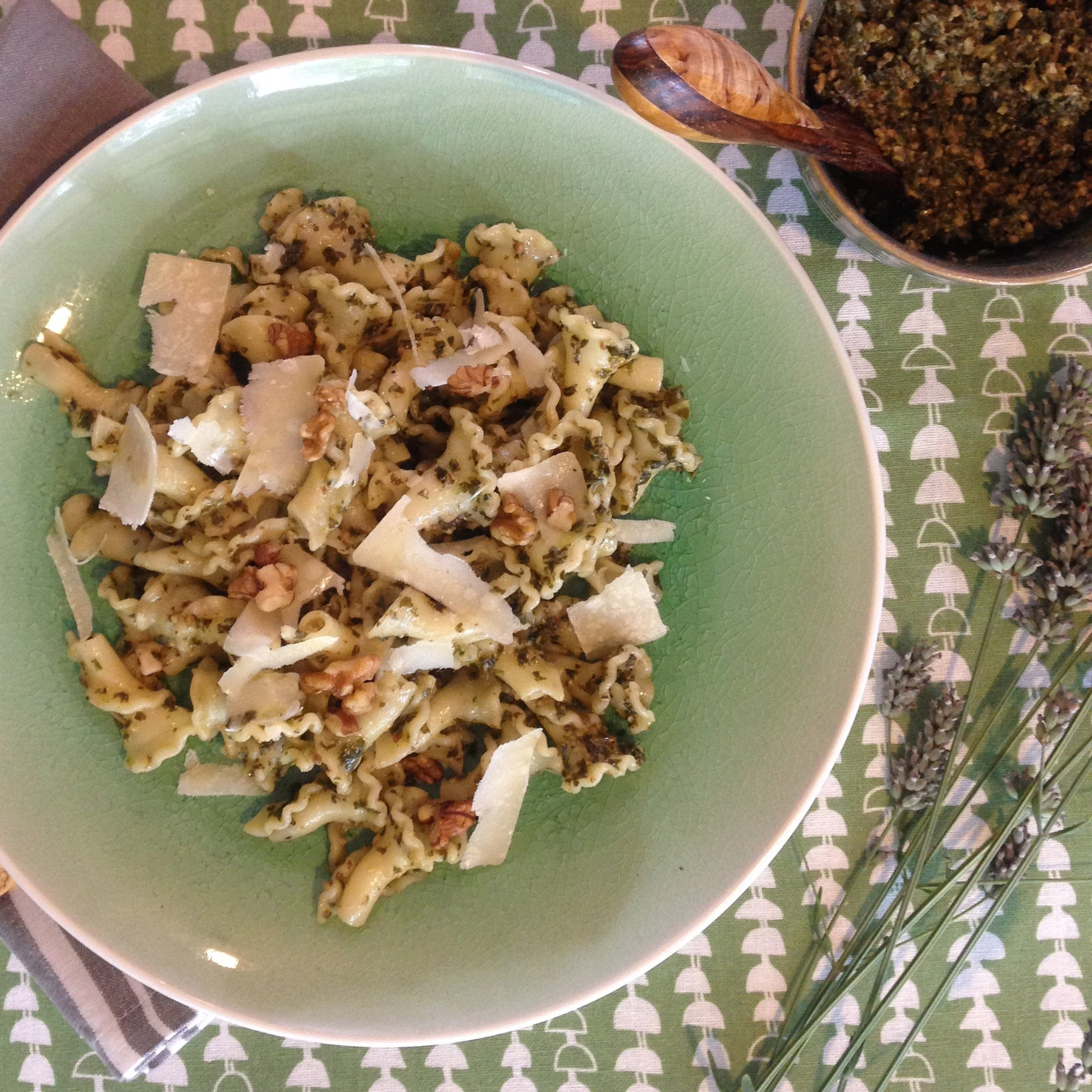 Kale and toasted walnut pesto with pasta on hopi fabric by the meter from étoile home