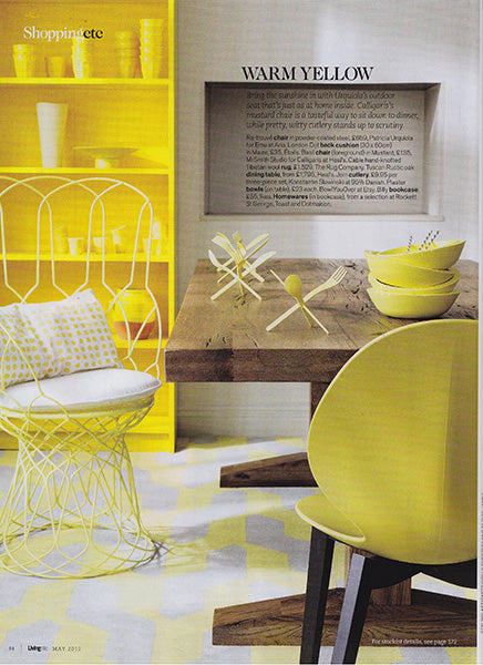 étoile home's London Polka Dot Spotty Rectangular Lumbar throw pillow in Maize yellow as seen In Living Etc Magazine ships from Canada worldwide including the USA