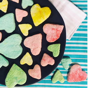 Sweet Heart Coloured Short Bread Cookie Recipe with stripe napkins in turquoise and pale pink