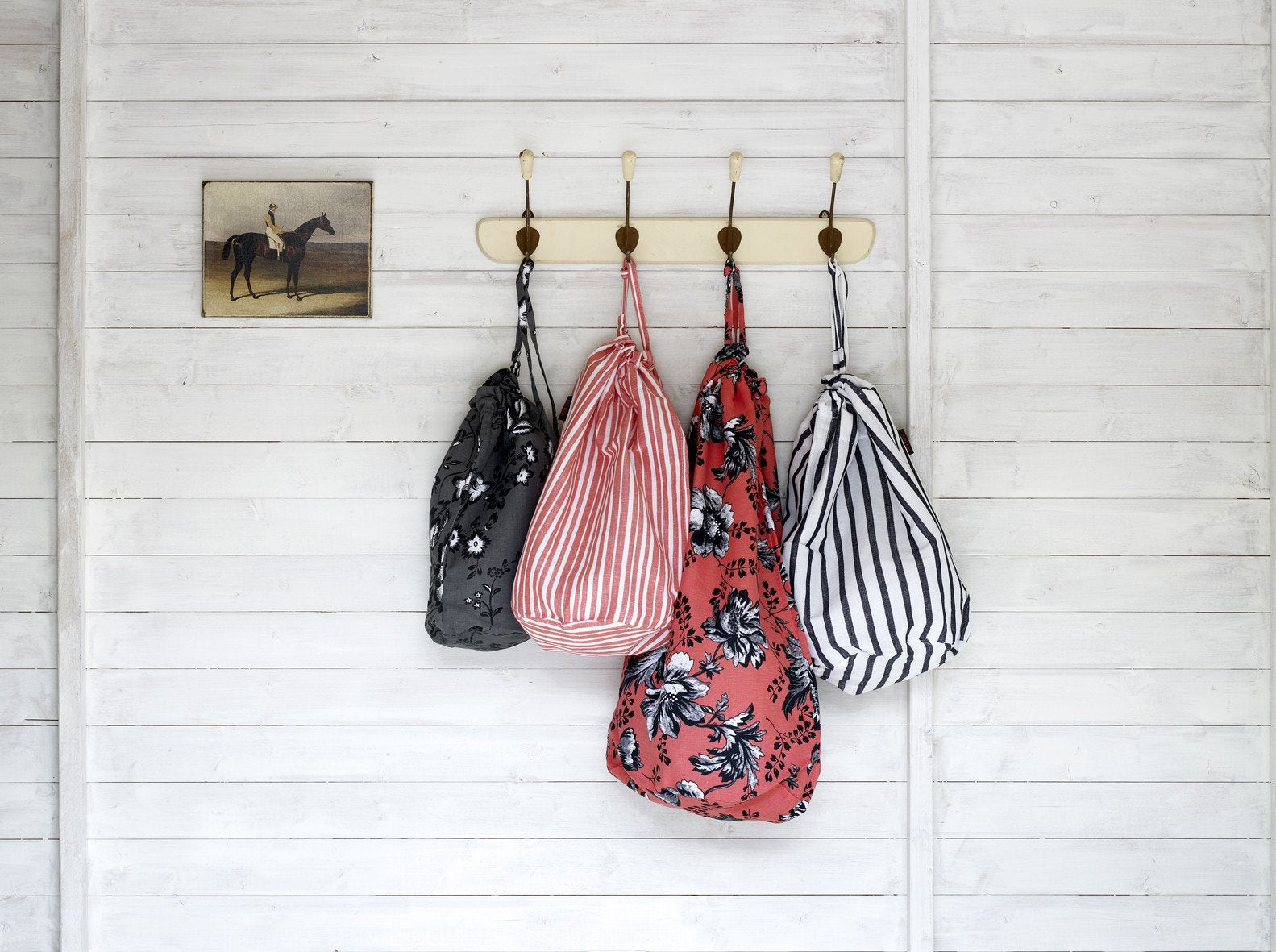 Drawstring laundry, kit or storage bags in pattern and stripes. Available in 3 sizes and a multitude of colours. ships from Canada worldwide including the USA