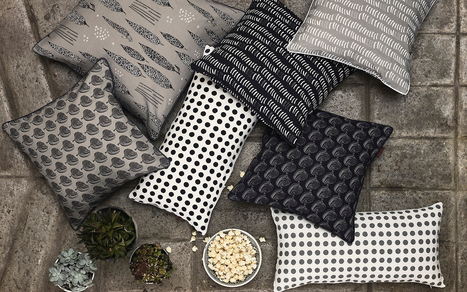Black and grey designer decorative throw pillows ships from Canada worldwide including the USA
