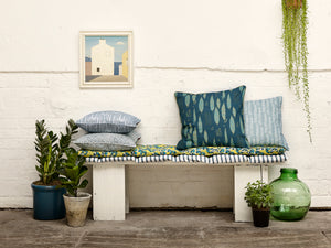 étoile home Poplar, Adams Rib, Rosemary and Spost Patterned Decorative Pillows in blue and fabric by the yard