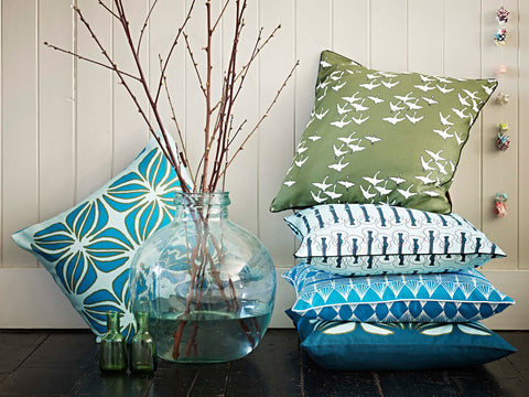 Cushions in Turquoise, Olive and Celeste Blue
