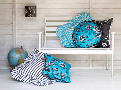 Autumn Stripe & Palermo Stripe Ruffle Cushions in Pacific Blue and Black