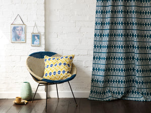 Huts Pattern Cotton Linen Fabric by the Yard in Petrol Blue