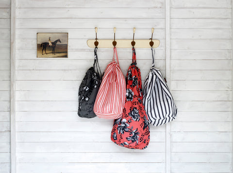 Laundry Bags in Geranium Red and Black