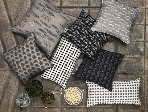 etoile home decorative pillows in black, grey and whites. Monochrome