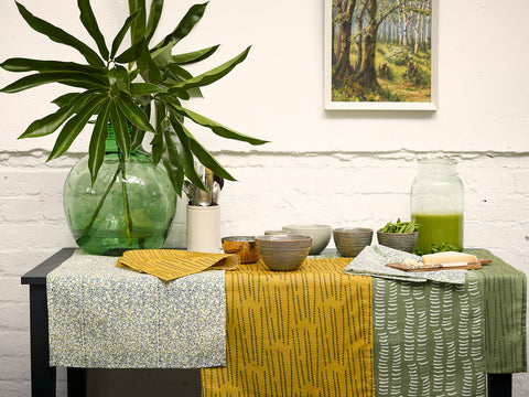 Tea Towels and Napkins in Mustard Yellow, Avocado Green and Moss Green