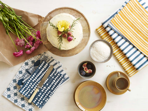 Petrol Blue and Gold Napkins and Tablecloths