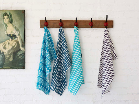 Linen Union Tea Towels in Shades of Blue